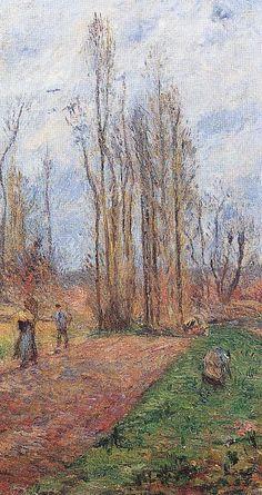"""Camille Pissarro (1830-1903) ~ """"Environs de Pontoise, Paysage d'Hiver"""", 1877 (Détail) ~ Huile sur Toile Originale 48 x 35 cm"""