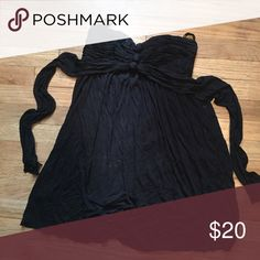 Bcbg black cover up dress Cute size medium black cover up dress. ties in back. Strapless. Dresses Mini