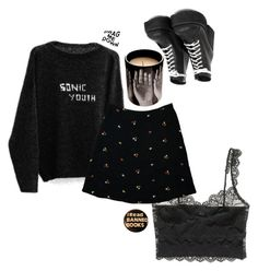 """nothing's gonna hurt you baby"" by lasagnas ❤ liked on Polyvore featuring Madewell, Fornasetti and black"