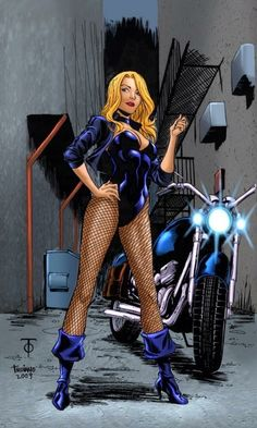 Black Canary II (Dinah Laurel Lance), a super-heroine in the DC Comics universe. Created by Roy Thomas in Justice League of America in Batwoman, Dc Batgirl, Black Canary Comic, Arrow Black Canary, Green Arrow, Charlie Chaplin, Comic Book Characters, Comic Books Art, Comic Art