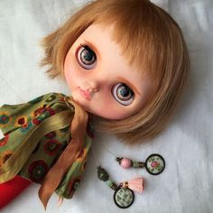 Custom Blythe doll. Petrusha have a beautiful charms with embroidered medallions: little clover for luck!