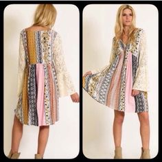 ❗️RESTOCKED❗️ Boho Peasant Pastel Lace Flowy Dress Gorgeous lace bell sleeve patchwork dress! Perfect for this spring and summer season! This item runs true to the following sizes: S (4-8) M (8-12) L 12-16. Runs big. If in between sizes, SIZE DOWN. Dresses Mini