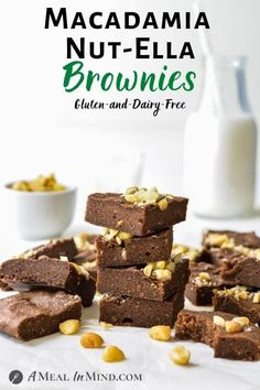 "Easy and quick with just 3 ingredients, these fudgy macadamia nut""ella"" brownies use homemade macadamia nutella, gluten-free flour and eggs or flax eggs. Bake a batch for your next brownie craving! 