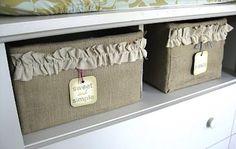 #Burlap #DIY  Storage Bin   Under a dining room bench?