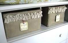 BURLAP DIY - Hot glue and burlap are all you need to turn sturdy cardboard boxes into better-than-average storage bins. As an added flourish, include ruffled ribbon remnants. Has recycling ever looked so great?