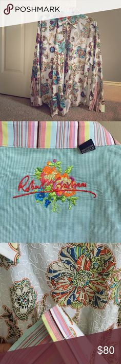 Robert Graham long sleeve shirt White with multi colored flowers, embroidery on left side of shirt.  Worn once, excellent condition! Robert Graham Shirts Dress Shirts