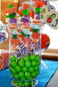 candy kabobs Display in glass jar with pink gum balls