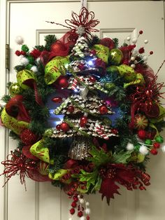 Pine one Christmas tree wreath complete with lights and decorations by Twentycoats Wreath Creations (2015)