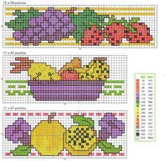 Lindos gráficos de ponto cruz de frutas para bordar em toalhas de mesa e guardanapos.