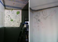 projected hand drawn wallpaper