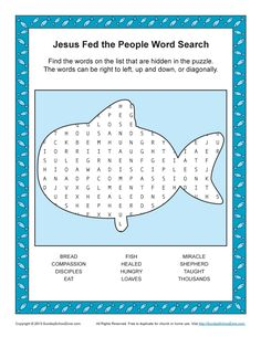 Free, Printable Bible Word Search Activities on Sunday School Zone. Click Pin for Multiple Stories Word Search:)