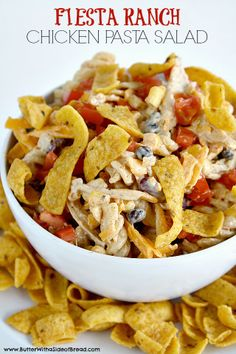 Fiesta Ranch Chicken Pasta Salad is full of fresh southwestern flavors with black beans, corn, cheese and tomatoes. This hearty chicken pasta salad recipe topped with Fritos is perfect as a main dish or a side dish for potlucks and parties! Pasta Dishes, Food Dishes, Side Dishes, Food Food, Chicken Pasta Salad Recipes, Chicken Salad, Pasta Food, Recipe Chicken, Think Food