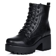 Stiefeletten Ankle Boots Schuhe Blockabsatz Plateau Schnür Schwarz Synthetik Kunstleder EU 36 - http://on-line-kaufen.de/spylovebuy/36-eu-spylovebuy-shotgun-stiefeletten-ankle