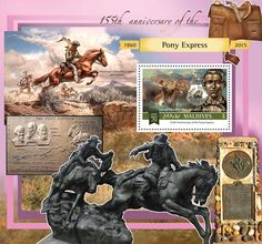 Post stamp Maldives MLD b anniversary of the Pony Express (Johnny Fry messenger of the Pony Express) Pony Express, Maldives, Postage Stamps, Anniversary, Miniatures, Movie Posters, Art, The Maldives, Art Background