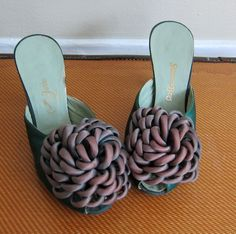 Vintage 1950s Green Satin Boudoir Slippers by Jerro / 50s Open Toe Slides Evening Shoes / 6 1/2 by BasyaBerkman on Etsy