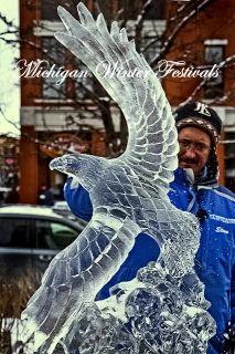 "Ice Impressions Michigan Winter Festival Ice Sculpture Gallery. -  ""Eagle in Flight"""