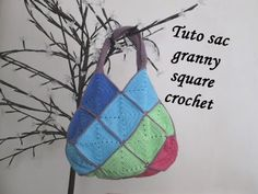 TUTO SAC CARRE GRANNY SQUARE Crochet bag granny square BOLSO CUADROS CROCHET - YouTube