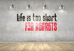 """Life is too short for regrets...    Price : 20.00 EURO ( S&H if applicable)  ... HashTags : #brutalvisual #brutalvisualstudio #handmade #custom #etsy #customdesigns #brutal #walldecal #walldecor #wallsticker #decal #sticker #lettering #quote #quotedecal #lifeistooshort #regrets #inspiring #inspiringdecal #gift  """"Life is too short for regrets"""" - Is and inspirational Illustration for general usage. As usual this Vinyl Decal (or sticker) is designed specially for walls or windows ... (click on…"""