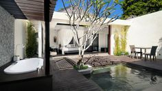 Bali! The Amala: Each villa has a lovely outdoor area with a double steam shower.