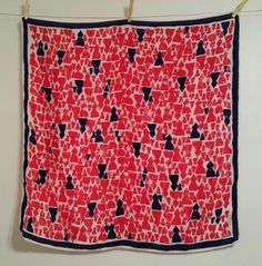 Vera scarf red white blue silk abstract print by AtomicPhenomic