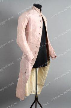 Habit, vers 1785, taffetas de soie rose, petit col droit, fermé par deux agrafes, complet de ses 26 boutons couvert en pareil sur le devant, les poches, les poignets et les basques (bel état). On y joint un gilet Empire en brocart, (acc.) Frock Coat, Frocks, Empire, Duster Coat, Victorian, Costumes, Jackets, Dresses, Fashion