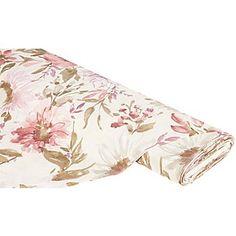 """Tissu de décoration """"Viola"""", écru/vieux rose, joli tissu à motif de fleurs, idéal pour la confection de chemins de table, housses de coussin, nappes, etc.Composition : 80 % coton, 20 % polyesterPoids : env. 180 g/m²Largeur : 140 cm"""