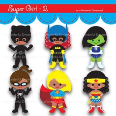 Printable Clip Art Digital PDF PNG File - Super Baby Girls - 2 from Wonderful Dreamland on TeachersNotebook.com -  (6 pages)  - Printable Clip Art Digital PDF PNG File - Super Baby Girls - 2