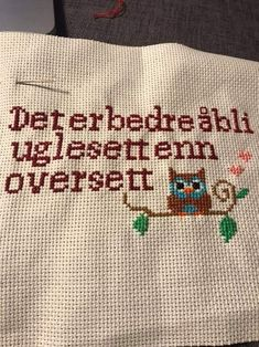 Gave, Diy And Crafts, Cross Stitch, Reusable Tote Bags, Humor, Sewing, Words, Quotes, Inspiration