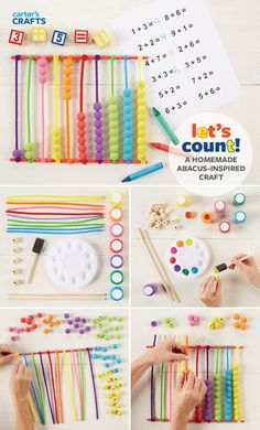 Let's count! A homemade abacus-inspired craft is great for practicing math skills, fine motor skills and color recognition.