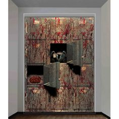 Morgue Wall Halloween Decoration | Pretty gory!! 4' x 5.3' is big enough to cover my blank living room wall..