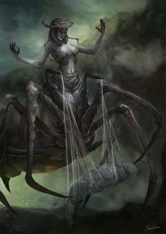 [Arachne, The Weaver, Jowie Lim ARACHNEE, half-spider half-female, the mother of all spiders. She was transformed into this state by Athena after challenging her to a weaving contest. Dark Fantasy Art, Fantasy Artwork, Fantasy Kunst, Fantasy Rpg, Medieval Fantasy, Warhammer Fantasy, Fantasy World, Arte Horror, Horror Art