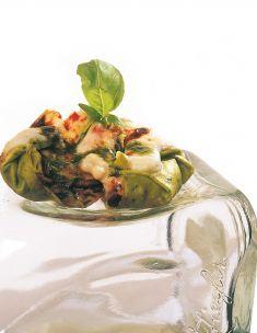 Lasagna di verdure e burrata al pesto leggero