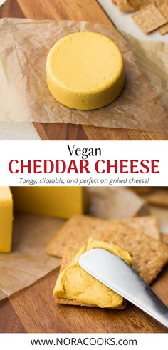 Vegan Cheddar Cheese is easy to make and perfect for sandwiches, crackers or a fruit and cheese platter! Easy Vegan Cheese Recipe, Vegan Cheddar Cheese, Dairy Free Cheese, Dairy Free Recipes, Vegan Recipes, Snack Recipes, Vegan Sauces, Vegan Dishes, Mexican Food Recipes
