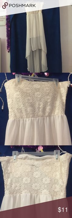 White high low strapless dress White high low strapless dress with floral lace on bust and back, large Dresses High Low
