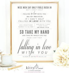 """Ingrid Michaelson or Elvis Presley """"Can't Help Falling in Love"""", Valentine's Day, Wedding, Paper Anniversary Gift, Song Lyrics Art Print by KittyMeowBoutique"""