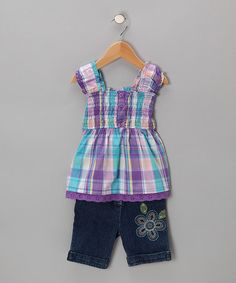 Look what I found on #zulily! Purple Plaid Babydoll Top & Shorts - Infant & Toddler #zulilyfinds