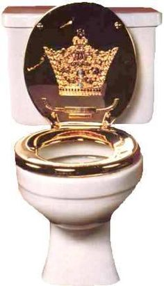 Standard toilet cistern with royal throne golden toilet seat