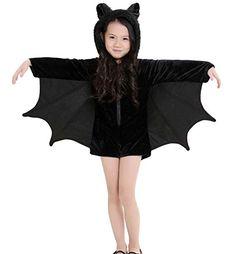 Feoya Kinder Mädchen Batman Jumpsuit Overall Cosplay Kostüm Zubehör für Halloween Karneval Fastnacht Party Bühne Show Theater - Schwarz Größe S