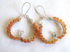 Carnelian Earrings Wire Wrapped Earrings Silver by TapestryGems