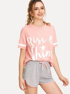 fd0d7af7f2 Letter Print Striped Tee & Contrast Binding Shorts PJ Set -SheIn(Sheinside)  Cute