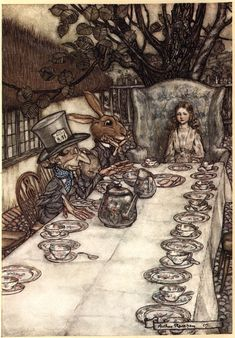I love this....! Arthur #Rackham's #Alice in #Wonderland Illustrations....Alice in Wonderland, Ill. by Arthur Rackham 1907....