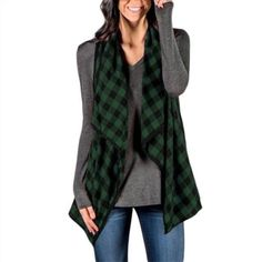 Casual Coats For Women, Cardigans For Women, Jackets For Women, Clothes For Women, Blue Shirt Dress, Sleeveless Jacket, Cardigan Fashion, Black Tops, Red Black