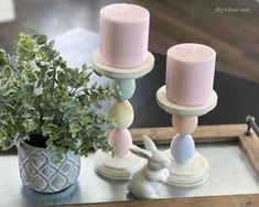 Learn how to make DIY candle holders out of plastic Easter eggs. With only a few materials, these DIY Easter egg candle holders will add to your decor. Plastic Easter Eggs, Easter Peeps, Easter Bunny, Citronella Candles, Diy Candles, Pottery Barn Desk, Diy Gumball Machine, Diy Candle Holders, Egg Holder