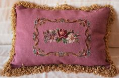 Needlepoint Pillow, floral motif, Whimsical Trim, Velveteen Back, new synthetic down insert. by NestingInstinctShop on Etsy