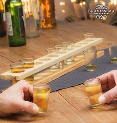 Copos de Shot com Suporte de Madeira Bravissima Kitchen (11 peças)