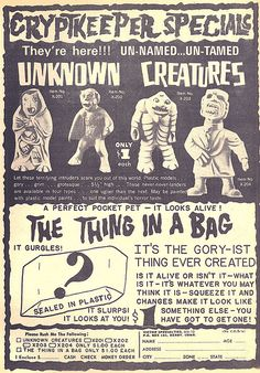 Vintage Monster Magazine Ad. Unnamed and untamed !