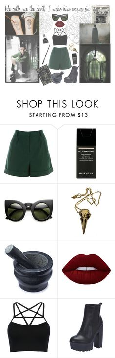 """*** Slytherin - D.O. ***"" by milda-mint on Polyvore featuring Katie, Warehouse, Givenchy, Pamela Love, Cole & Mason, Lime Crime and WithChic"