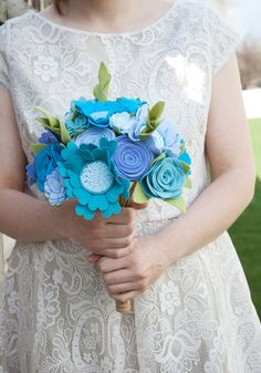 "Felt Bouquet - Wedding Bouquet - Alternative Bouquet - ""Blue Bird"" on Etsy, $175.00"