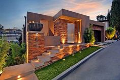 Modern exterior on a sloping land
