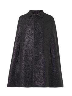 Saint Laurent Lurex-tweed collared cape